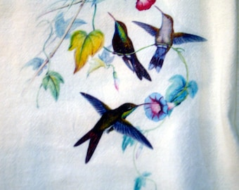 Flour Sack Kitchen Towel, Hummingbirds, Flowers