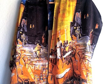 Shawl, Cafe Terrace at Night, Vincent Van Gogh, printed on pure silk scarf