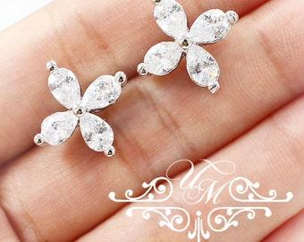 Wedding Jewelry Wedding Earrings Bridal Earrings Bridesmaid Earrings Zirconia Earrings Zirconia Clover earrings studs - SADE