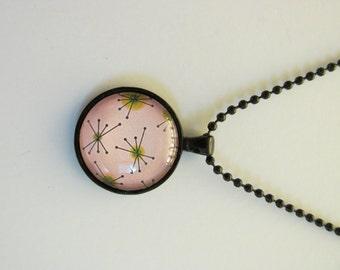 Handmade Mid Century Modern Starburst Cabochon Necklace