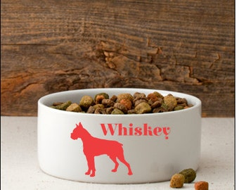 Man's Best Friend Silhouette SMALL or LARGE dog bowl- personalized dog bowl
