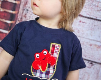Boy's Crab Shirt with Plaid Letter and Embroidered Name