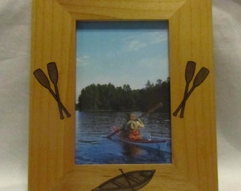 Personalized Wooden Picture Frame- Engraved Canoe