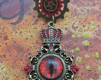 "Steampunk ""Dragon Master"" Brass Red Dragon Eye Chest Medal Pin"