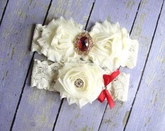Ivory Garter, Red Garter, Victorian Wedding, Gold Garter, Custom Wedding Garter, Queen Garter, Deep Red Garter