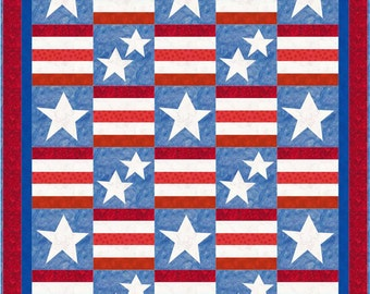 Stars stripes quilt | Etsy : stars and stripes quilt pattern - Adamdwight.com