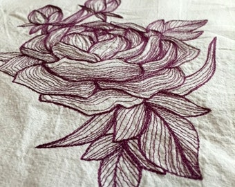 Purple Engraved Peony Embroidered Flour Sack Towel - Ready to Ship