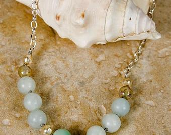 Amazonite necklace, semi precious amazonite gems, silver necklace, Czech necklace, blue necklace, spring colors, Easter necklace, beaded