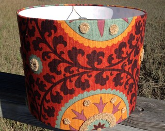 Drum Lamp Shade Colorful Suzani Fabric
