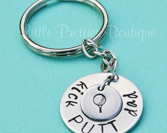 Kick Putt Dad Key Chain, Father's Day gift, Dad Key Chain, Hand Stamped, Personalized, Golf gift, Golf Key Chain, golf theme