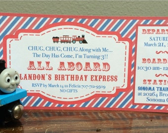 Vintage Train Birthday Party Invitations - Printable Invitation