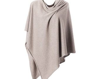 ANNA KRISTINE CASHMERE - Luxurious Light Taupe Pure Cashmere Poncho Topper