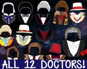 Doctor Who Photobooth Prop Printables - COMPLETE PACK - All Doctors + ACCESSORIES! Download, Print, & Party - Dr Who Photo Booth Paper Props