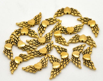 Antique Gold Angel Heart Wings