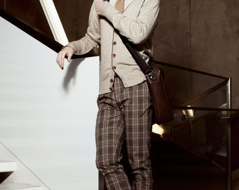Men's slim pants in checkered stretch cotton