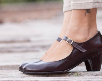Brown Leather Shoes, Brown Pumps, Heeled Leather Pumps, High Heel Shoes , Free Shipping