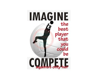 """5""""x7"""" Volleyball Print, Volleyball Picture, Volleyball Poster Volleyball Typography, Compete, Sports Inspiration, Volleyball"""