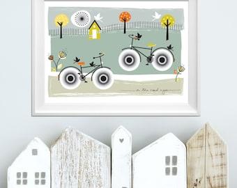 Bike Print. Bike Art. Cycle Art Print. Cycling Wall Art. On the Road Again Print