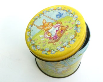 Vintage Easter Tin, Bunny Rabbit Tea Tin