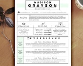 Resume / CV / Cover Letter Template for Word - 3 Page Creative Design - Instant Download - Madison Grayson - Editable