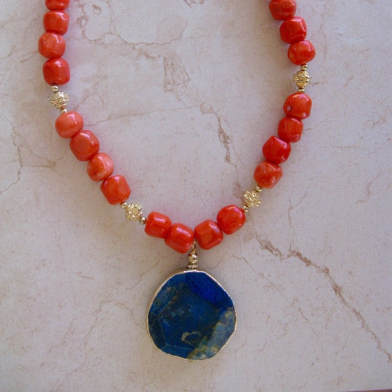 coral and jasper statement necklace