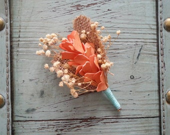 CUSTOM OPTIONS Rustic Elegant Boutonniere / Corsage for Wedding, Burlap / Baby's Breath / Country Chic