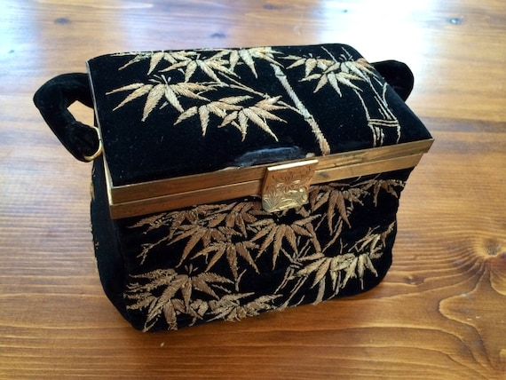 Retro Handbags, Purses, Wallets, Bags Antique TORII Tokyo box purse black velvet gold embroidery bamboo brass mirror flower glamorous old hollywood 1940s 1930s art deco REDUCED $62.50 AT vintagedancer.com