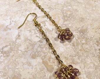 Rose Pink and Gold Dangle Earrings