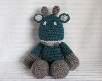 Crochet Animal, Crochet Giraffe Stuffed Animal in Teal and Grey, Giraffe Plush, Teal and Gray Giraffe, Stuffed Giraffe
