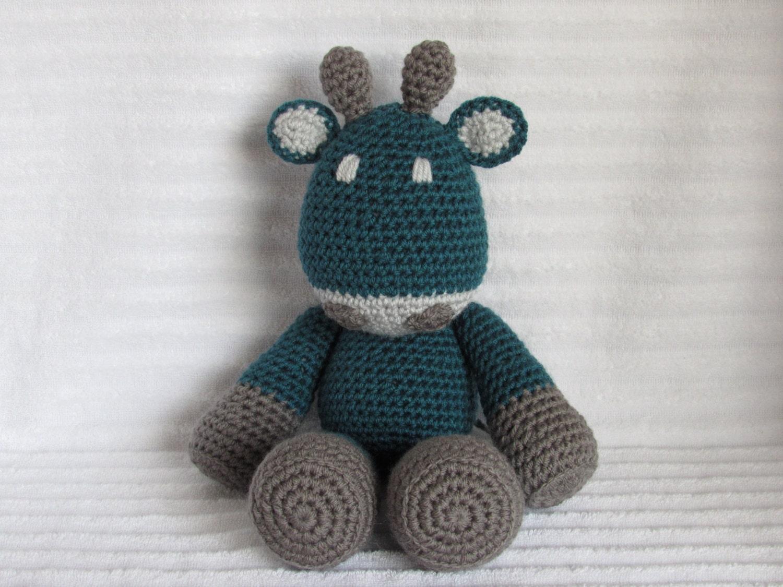 Crochet Animal Crochet Giraffe Stuffed Animal In Teal And