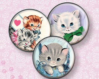 """Retro Cats & Kittens party toppers download pocket mirrors printable circles 2 inch 2.25"""" 2.5"""" round bottle cap images Digital Collage Sheet"""
