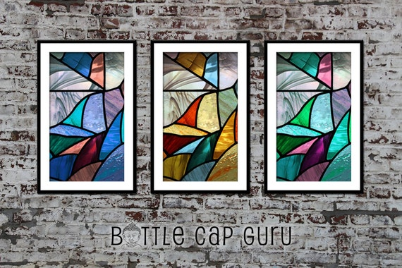 Printable STAINED GLASS Windows Set of 3 Prints / Wall Art Stained Glass Art  / Three
