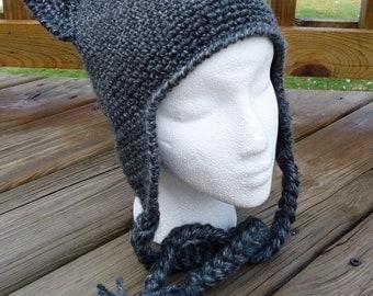100% Acrylic Cat Hat With Earflaps - Crochet - Women/Teen/Girls/Adult