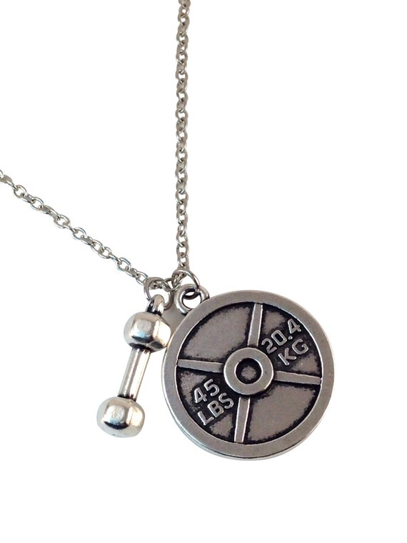dumbbell 45lb weight plate necklace by femmelafit on etsy