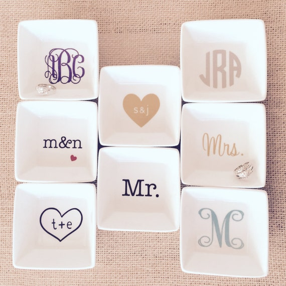 FREE DATE INCLUDED Wedding Personalized Ring Dish Custom Jewelry Box Engagement Gift