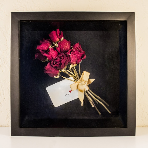 Dried Rose Bouquet With Costom Note 3d Shadow Box 1010 In