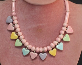 Flying Colors Pastel Ceramic Heart Necklace