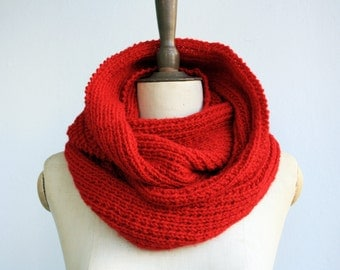 red infinity scarf /knitted scarf/knitting scarf/scarves/ scarf/ infinity/knit scarf