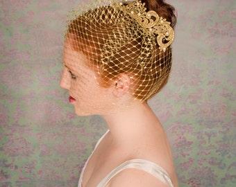Gold Birdcage Veil, Birdcage Veil Pearls, Gold Veil, Beaded Veil, Gold Birdcage- ZARA