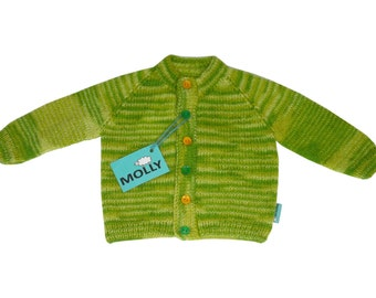 """Green hand made soft angora woool & acrylic kids cardigan """"Amazonian forest"""" in size 92; 18-24 months old"""