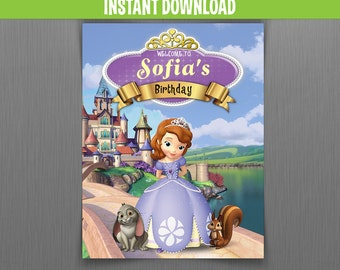 Disney Sofia The First Birthday Welcome Sign - Instant Download and Edit with Adobe Reader