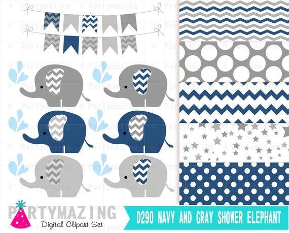 Navy Elephant Clip Art Navy Blue and Gray Polka dot by ...