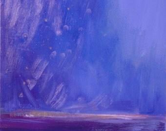 """10 % OFF ~ Night sky ~ Ciel de nuit ~ Original Abstract Landscape Oil Painting: 23 1/2 x 23 1/2 x 3"""", 60 x 60 x 8 cm -"""