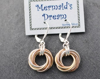 Tri Color Mobius Earring, Rose Gold, Yellow Gold, Sterling Silver, Lever Back, Earrings, Chain Maille, Chain Mail, Wire, Woven Earrings