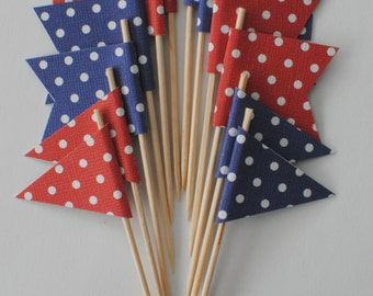 Red & Blue Cupcake Flags -Cupcake Topper | 4th of July cake topper, cake flag, bunting, cupcake flag, party supplies, party decorations