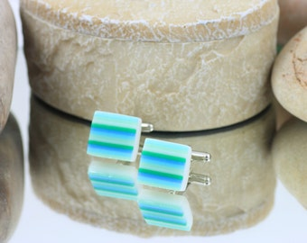 Fused Glass Cuff Links - Shades of Green Striped Glass Cuff Links - Glass Jewellery For Men.  JBT157
