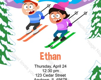 Snow Skiing Birthday Party Invitation - printable birthday invite for a downhill slalom winter snow ski party