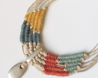 Fiber Tribal Necklace Bohemian Statement Collar Necklace Gift For Her Hand Woven Fiber Jewelry