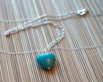 Beautiful Chinese Blue Turquoise Heart Pendant Necklace on Sterling Silver Chain - December Birthstone Gift