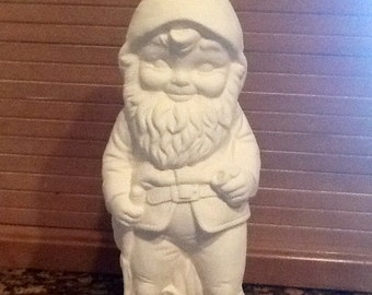 Large Yard gnome ready to paint ceramic bisque